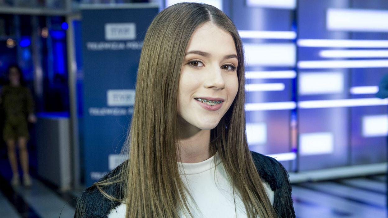 Na konferencji nie mogło zabraknąć Roksany Węgiel – zwyciężczyni Eurowizji Junior 2018 (fot. N. Młudzik/TVP)