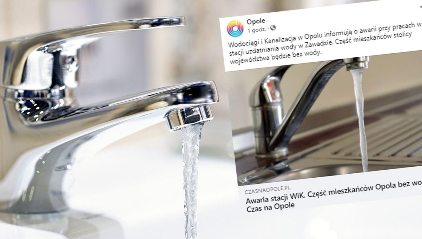 Do awarii doszło podczas prac przy stacji uzdatniania wody w Zawadzie (fot.Shutterstock/ILYA AKINSHIN; Facebook/Opole)