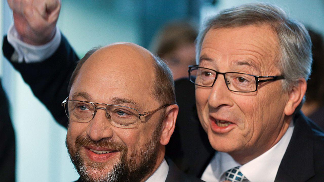 Martin Schulz i Jean-Claude Juncker (fot. PAP/EPA/AXEL HEIMKEN)