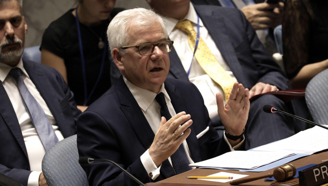 Posiedzeniu Rady Bezpieczeństwa ONZ będzie przewodniczył minister spraw zagranicznych Jacek Czaputowicz(fot. PAP/EPA/PETER FOLEY)