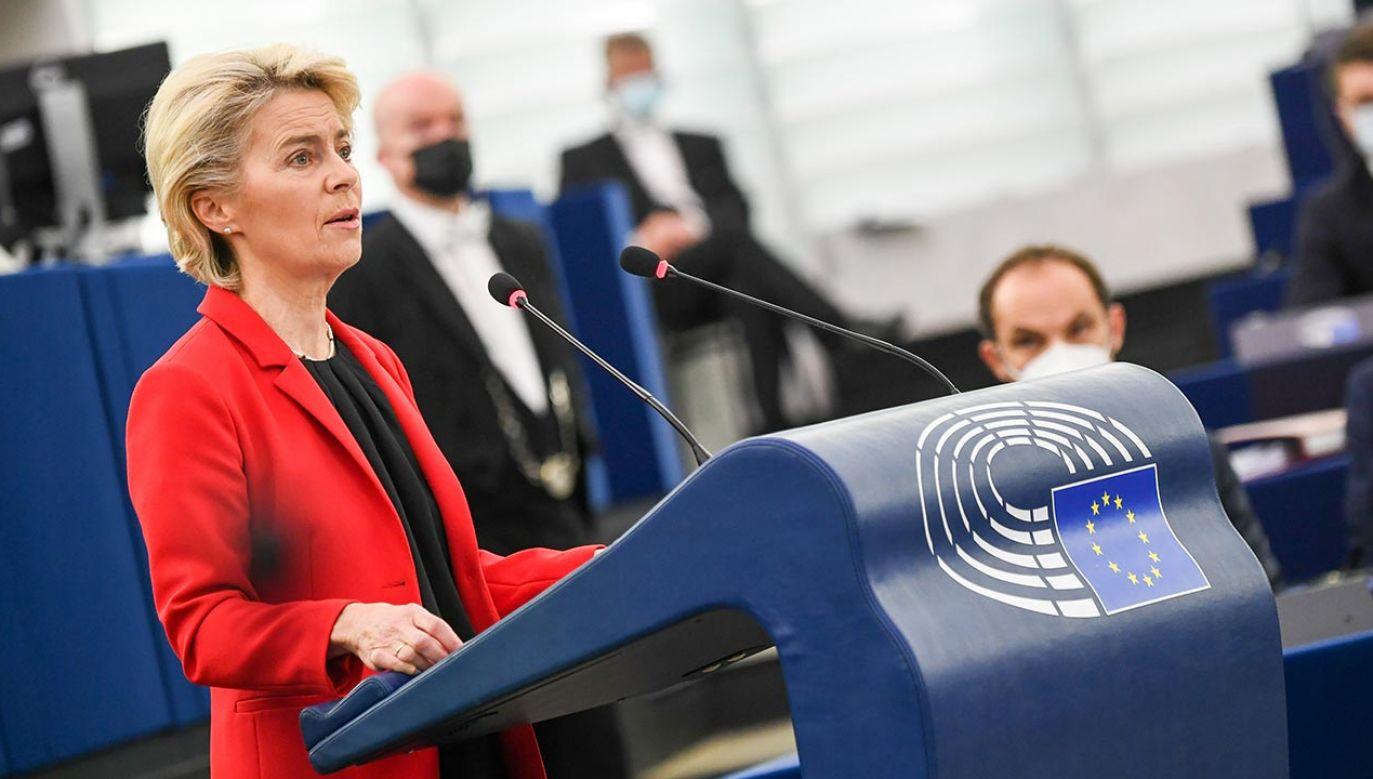 Beata Szydło nt. debaty w Parlamencie Europejskim (fot. EU Commission / Pool/Anadolu Agency via Getty Images)