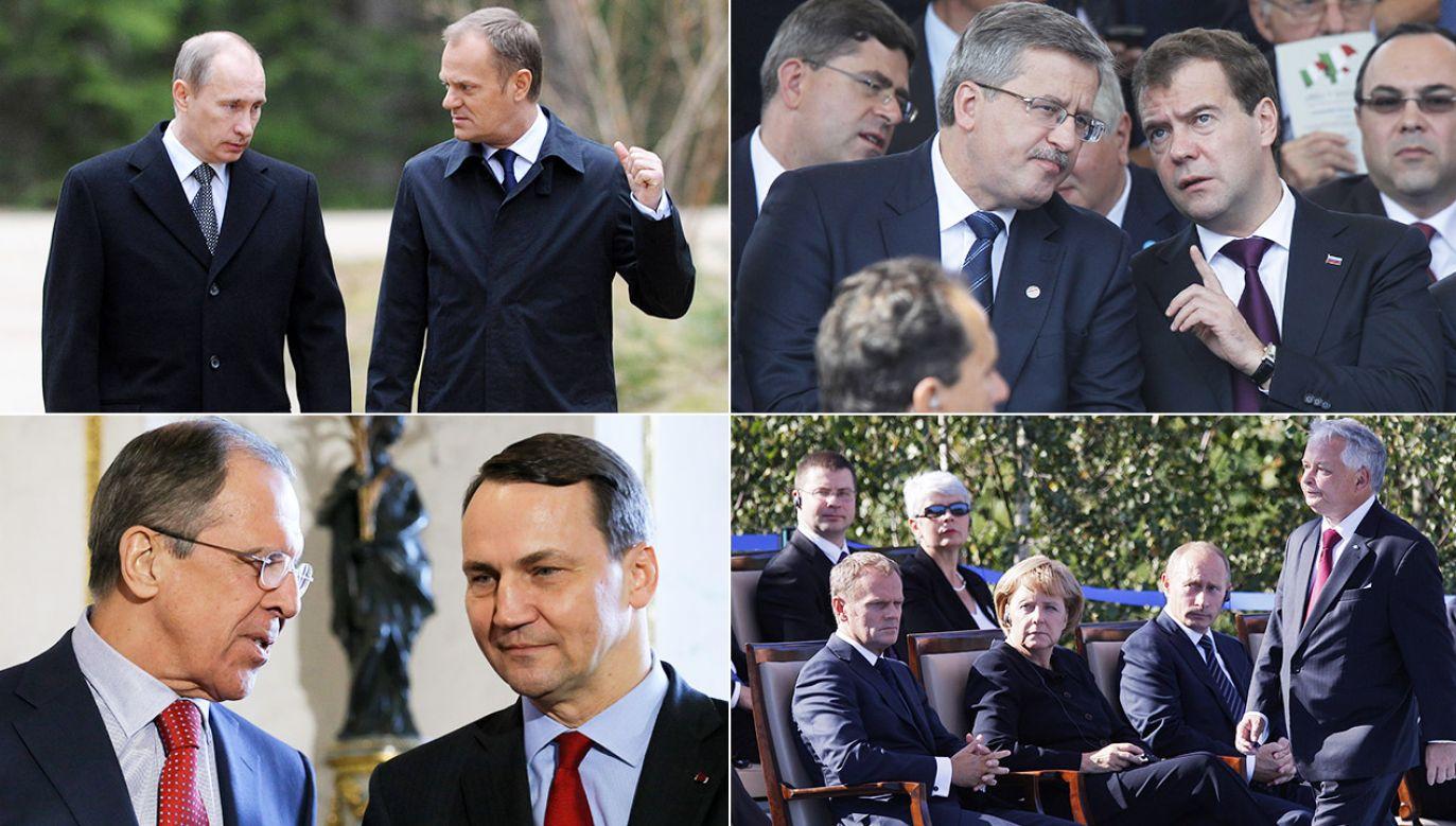 Władimir Putin, Donald Tusk, Bronisław Komorowski, Dmitrij Miedwiediew (fot. arch.PAP/ITAR-TASS (2), arch.PAP/P.Supernak, A.Warżawa)