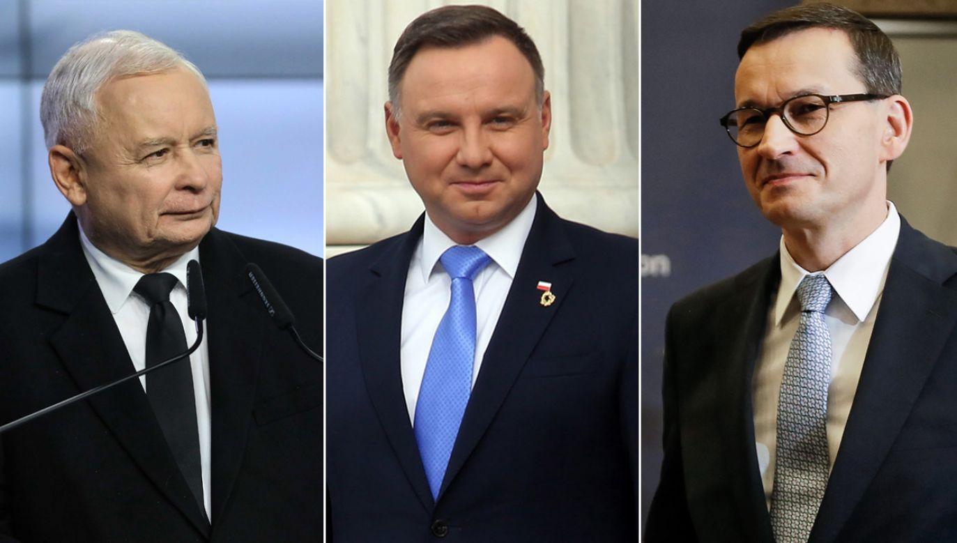 Prezes PiS Kaczyński, prezydent Duda i premier Morawiecki (fot. PAP)