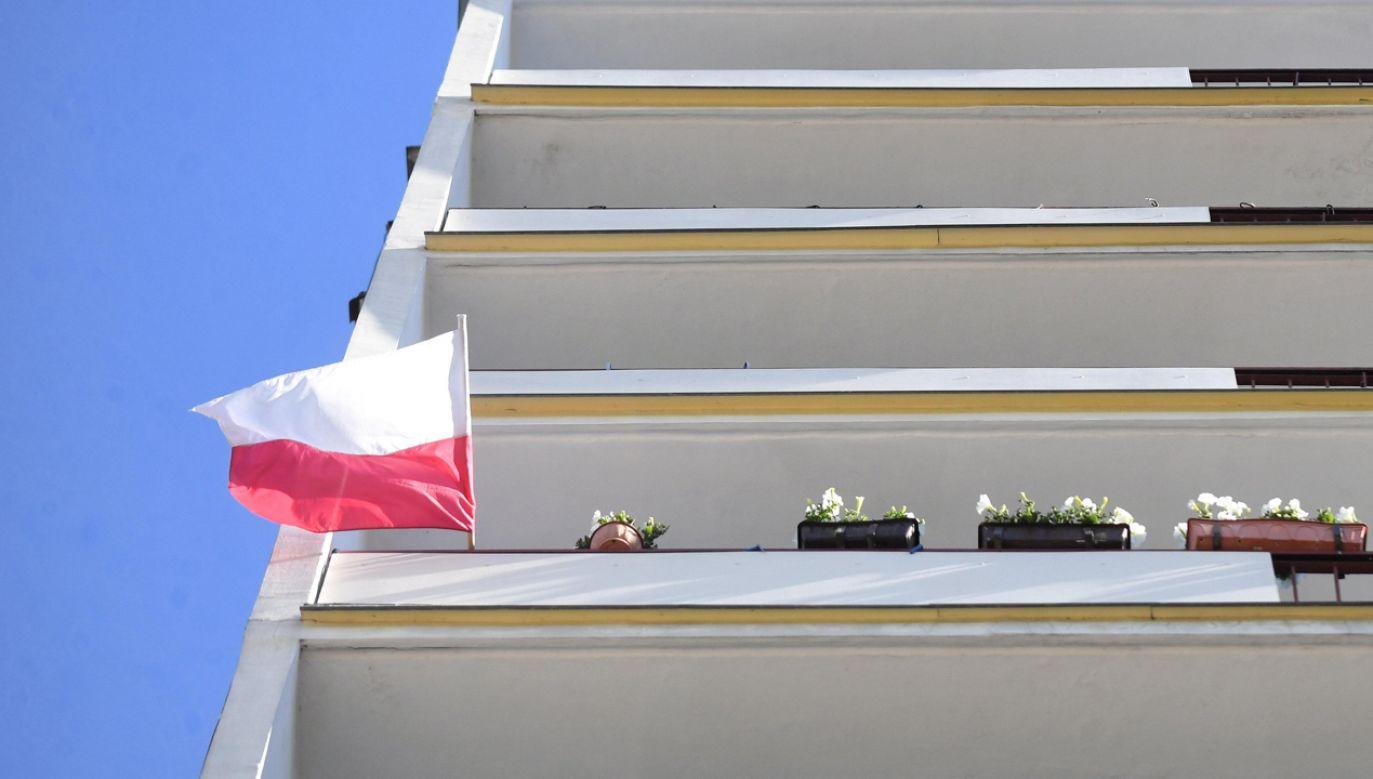 Polska flaga na balkonie bloku mieszkalnego w Bydgoszczy (fot. arch PAP / Tytus Żmijewski)