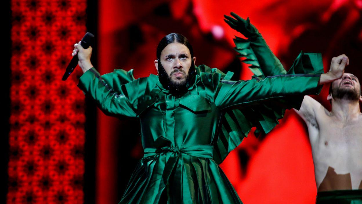 """Portugalia nie powtórzy sukcesu sprzed dwóch lat, a Conan Osiris nie zostanie następcą Salvadora Sobrala. Piosenka """"Telemóveis"""" nie porwała Europejczyków (fot. Thomas Hanses/EBU)"""