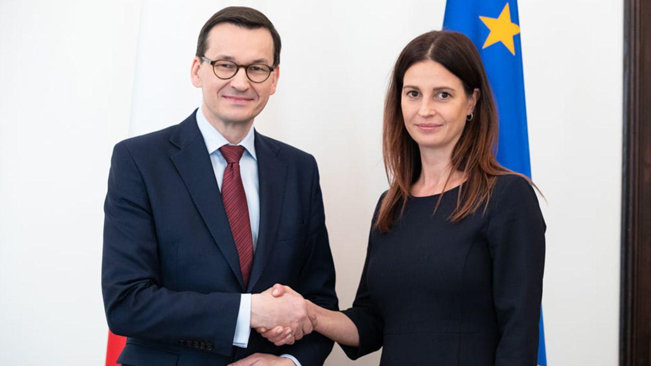 Premier Mateusz Morawiecki i nowa minister sportu, Danuta Dmowska-Andrzejuk. (fot. KPRM/Adam Guz)
