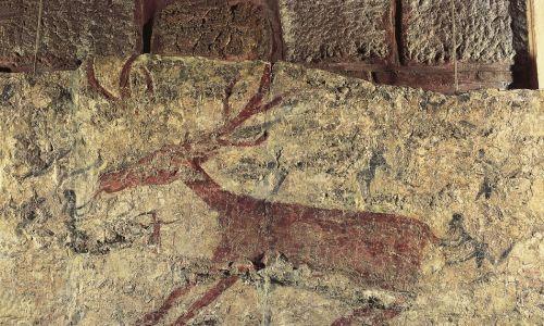Malowidło ścienne z Çatalhöyük przedstawiające jelenia. Ankara, Anadolu Medeniyetler Muzesi (Muzeum Archeologiczne). Fot. DeAgostini / Getty Images
