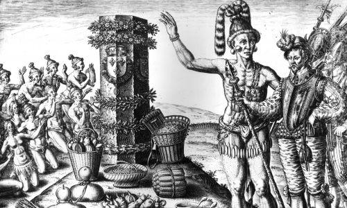 1591 rok, grupa Indian klęczących i czczących kolumnę ustawioną przez Landanniero, z ofiarami z kakao i innych owoców. Fot. Hulton Archive / Getty Images