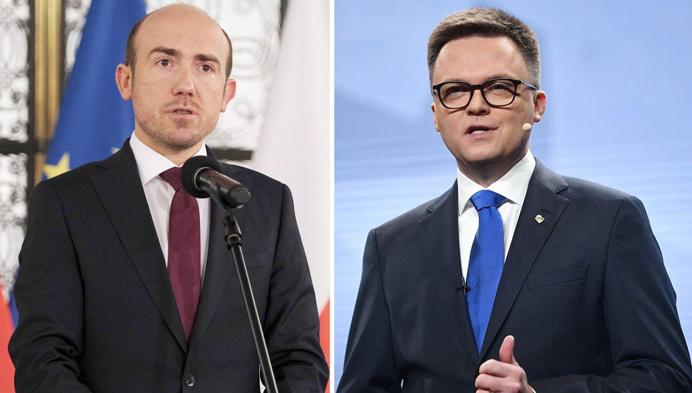 Liderzy PO Borys Budka i Polski 2050 Szymon Hołownia (fot. PAP/Mateusz Marek; Marcin Obara)