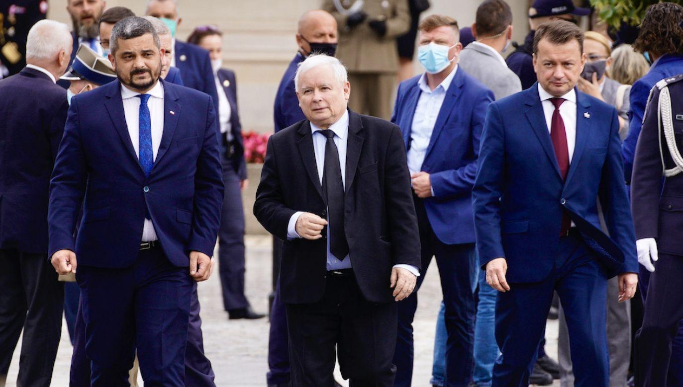 Jarosław Kaczyński komentuje cyberatak (fot. Jaap Arriens/NurPhoto via Getty Images)