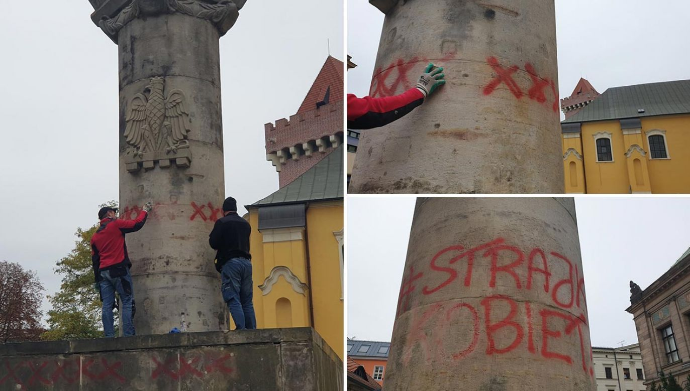 Pomnik zdewastowano w trakcie protestów (fot. Facebook/Kibice Lecha Poznań)