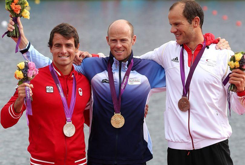 Podium konkurencji K1 na 1000 metrów: złoty Norweg, srebrny Kanadyjczyk i brązowy Niemiec (fot. Getty Images)