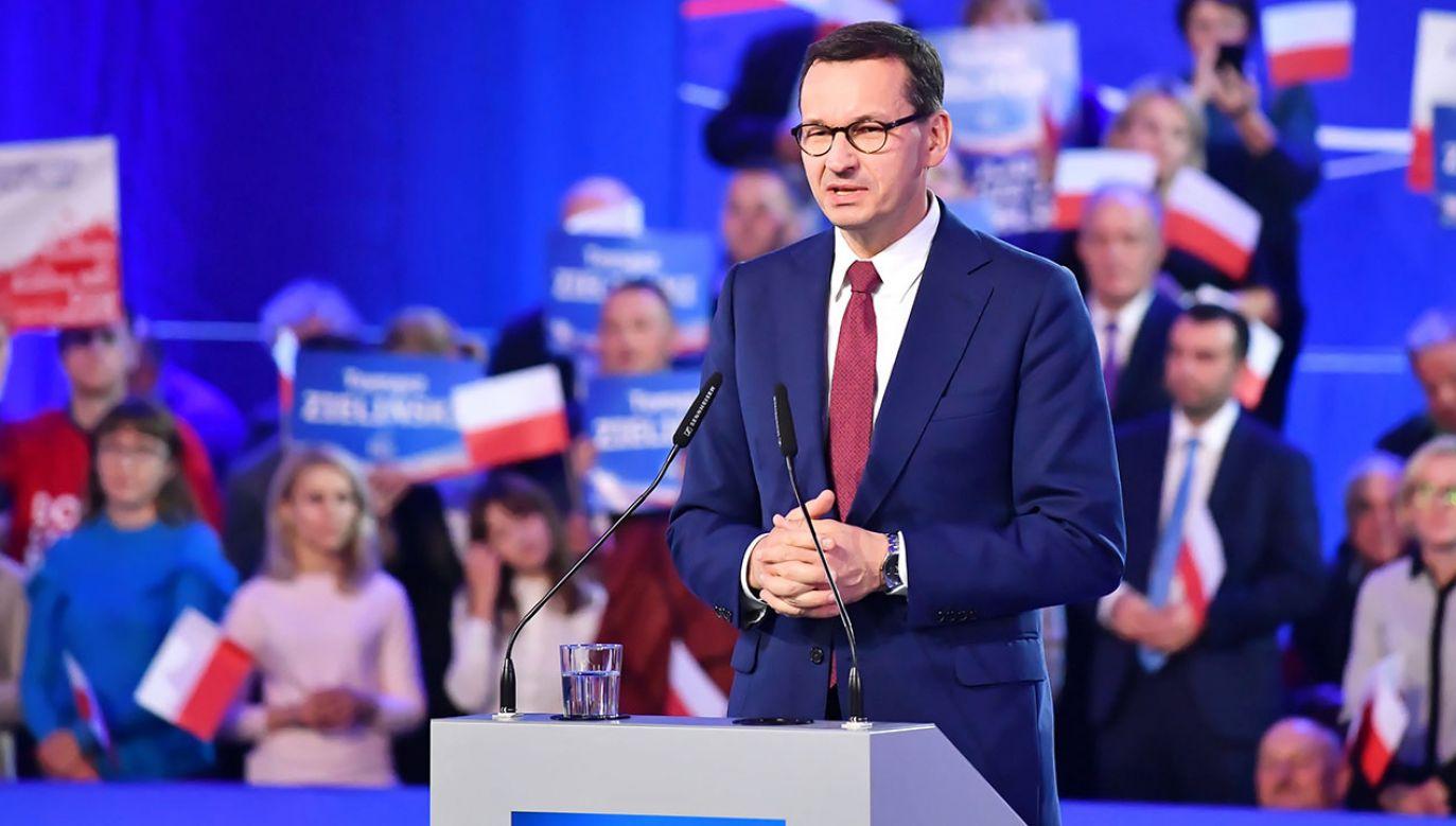 """""""Prezes PiS wielokrotnie w kampanii wyborczej podkreślał, że Morawiecki będzie kandydatem"""" (fot. PAP/Wojtek Jargiło)"""