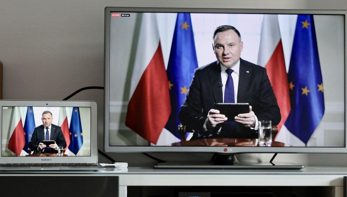 """""""Bez względu na to, czy Unia Europejska daje sobie dzisiaj radę, czy nie, jesteśmy jej częścią"""" – podkreśla Andrzej Duda (fot. PAP/Paweł Supernak)"""