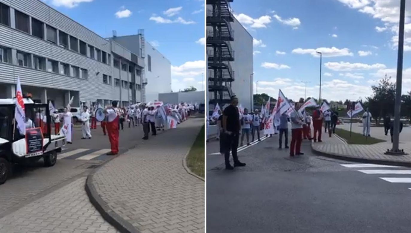 """W ramach środowego protestu związkowcy przebrali się za postaci serialu sensacyjnego """"Dom z papieru"""" (fot. Facebook/OM NSZZ"""
