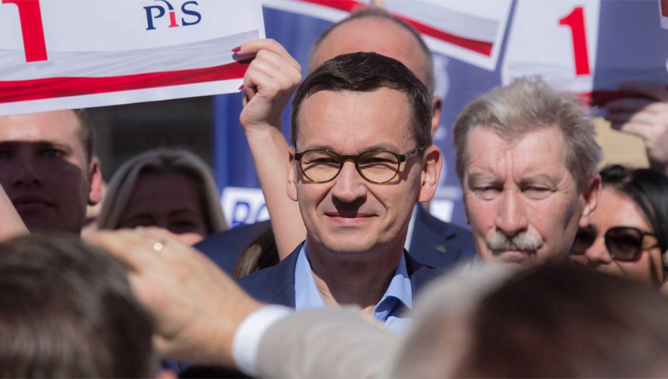 W swoim wystąpieniu premier Mateusz Morawiecki skupił się na gospodarce (fot. PAP/Aleksander Koźmiński)