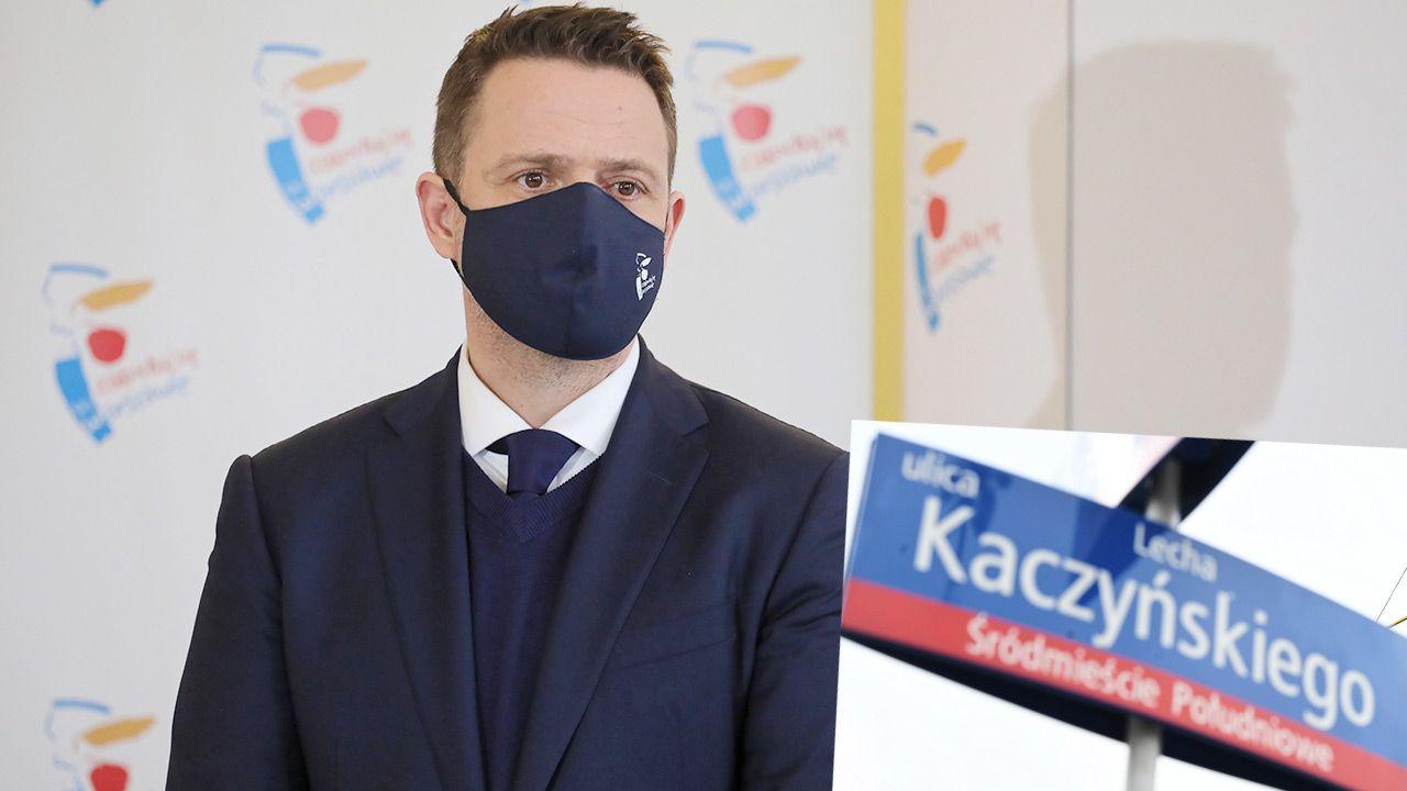 W połowie grudnia ub.r. Trzaskowski stwierdził, że to nie jest dobry moment na uhonorowanie Lecha Kaczyńskiego (fot. PAP/Paweł Supernak; Radek Pietruszka)