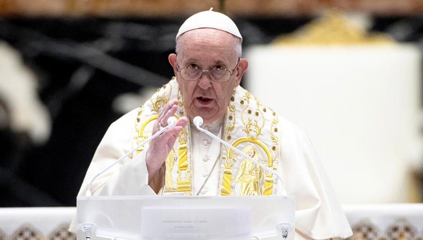 Papież zabrał głos ws. szczepień na COVID-19 (fot. Vatican Pool/Getty Images)
