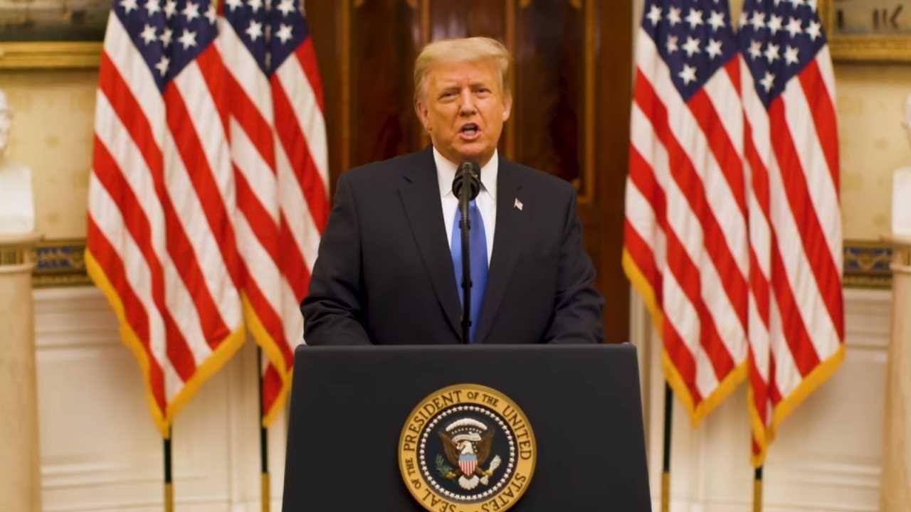 Donald Trump wygłosił około 20-minutowe przemówienie (fot. PAP/EPA/WHITE HOUSE / HANDOUT)
