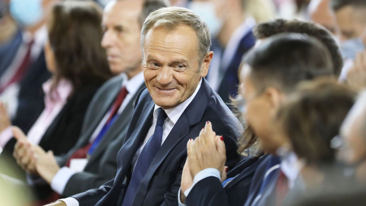 Donald Tusk  podczas krajowej konwencji w Płońsku (fot. PAP/W.Olkuśnik