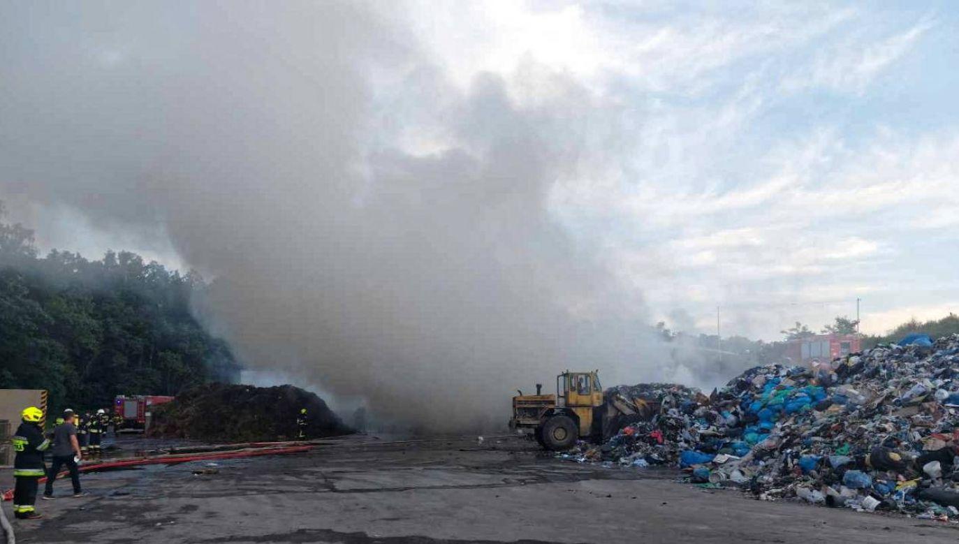 Przyczyna pożaru nie jest znana (fot. PAP/KP PSP Wieluń)