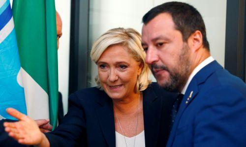 Matteo Salvini z Marine Le Pen w październiku 2018 roku w Rzymie. Fot. REUTERS/Max Rossi