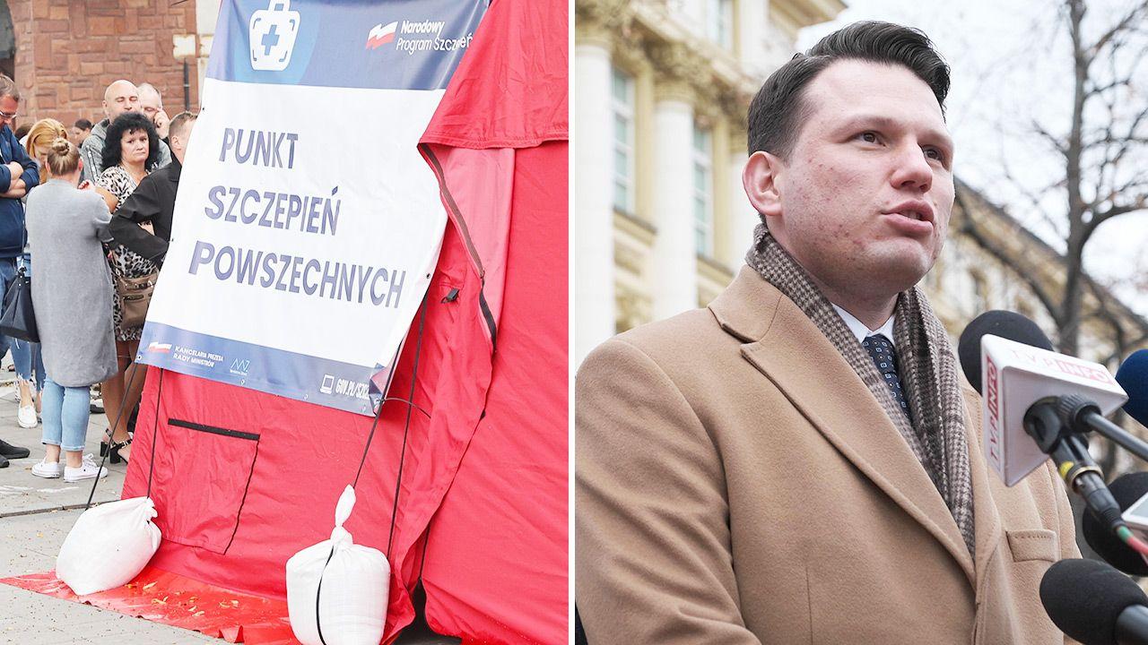 """Jeszcze miesiąc wcześniej Sławomir Mentzen twierdził, że """"nie są dobrze sprawdzone"""" (fot. PAP/Mateusz Marek, Grzegorz Momot)"""