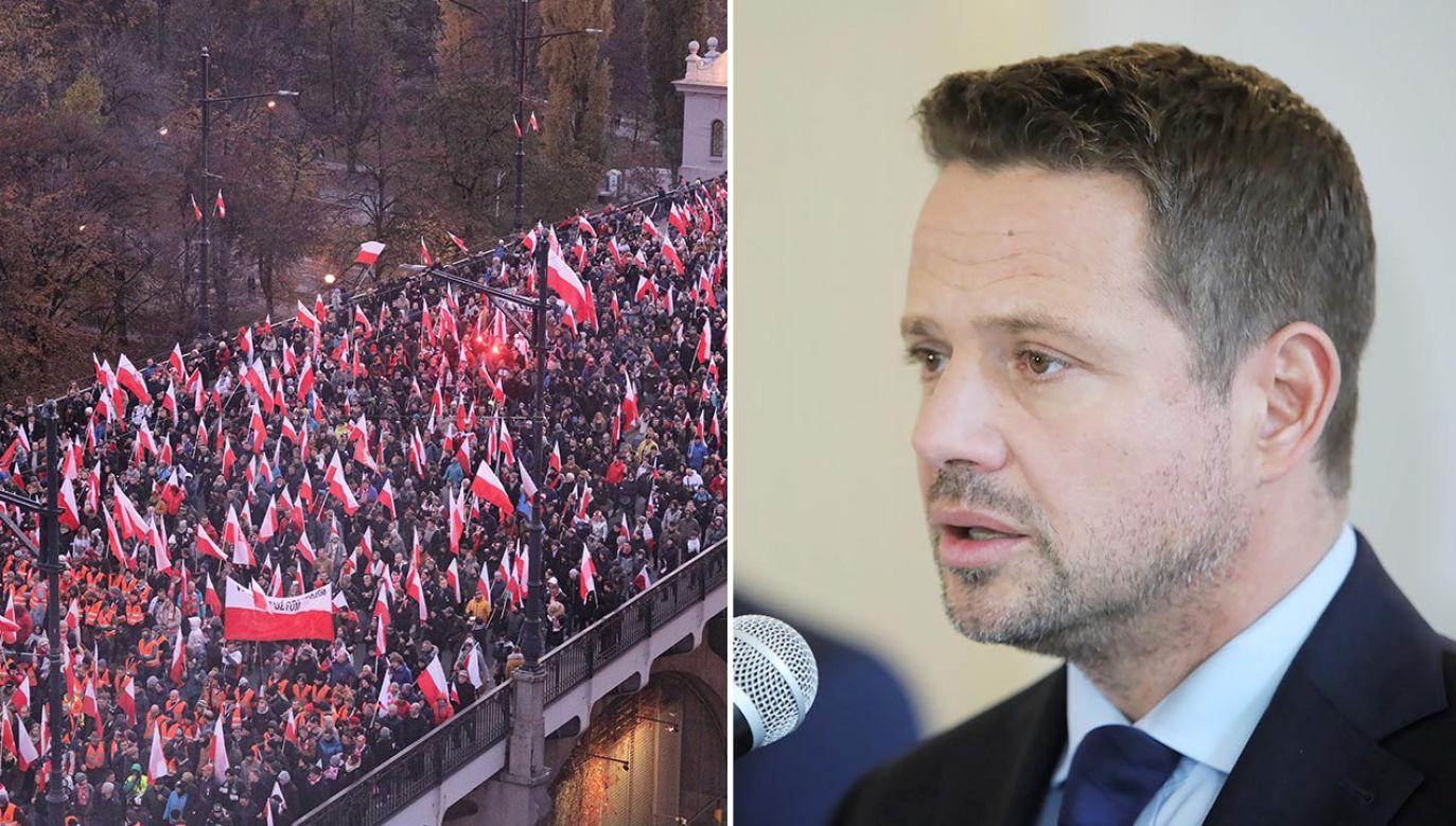 Prezydent Warszawy dopatruje się w organizowanej 11 listopada manifestacji przejawów nienawiści (fot. PAP/Paweł Supernak, Wojciech Olkuśnik)