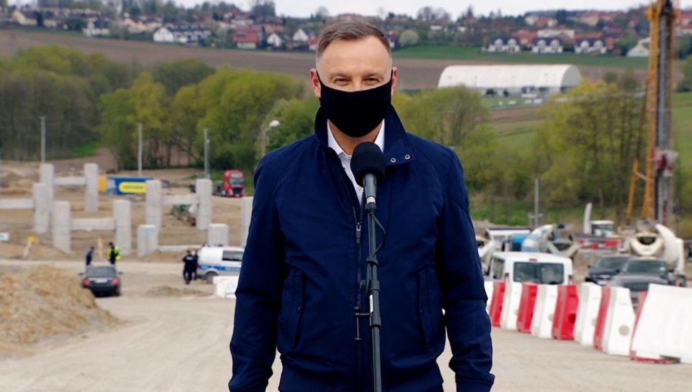 Prezydent Andrzej Duda odwiedził budowę obwodnicy Krakowa (fot. Kancelaria Prezydenta)