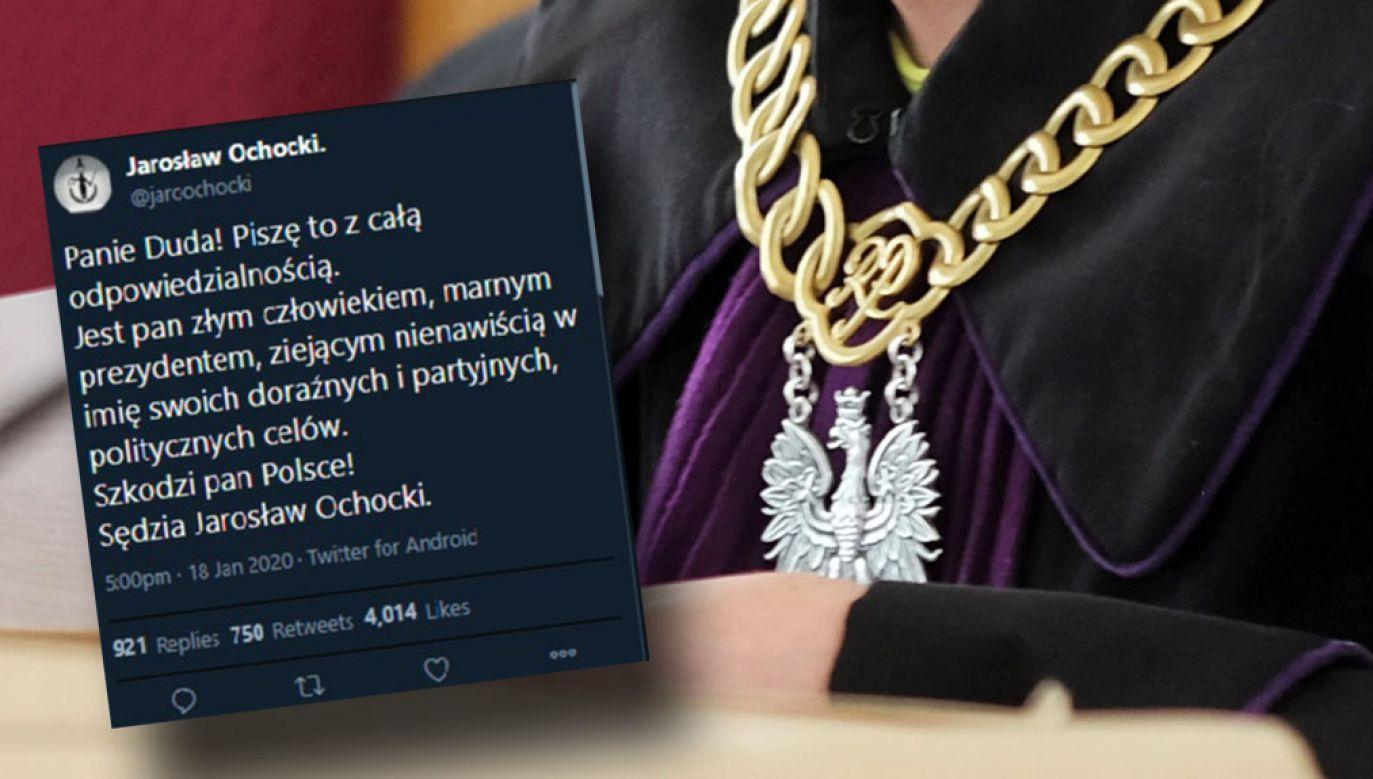 Goście programu odnosili się do wpisów sędziego Sądu Okręgowego w Poznaniu Jarosława Ochockiego, w których znieważał on prezydenta Andrzeja Dudę (fot. arch. PAP/Andrzej Grygiel; Twitter/Stanisław Janecki)