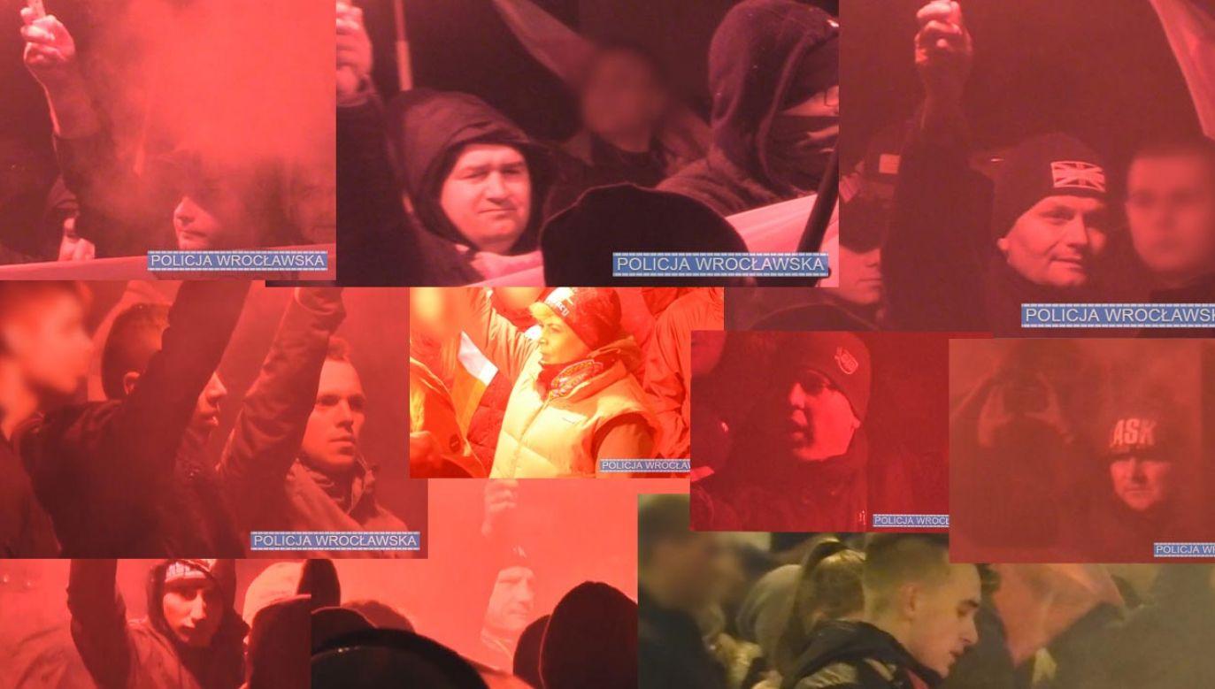 Wizerunki osóby podejrzewanych o naruszenie prawa podczas marszu (fot. Wroclaw/policja.gov.pl)