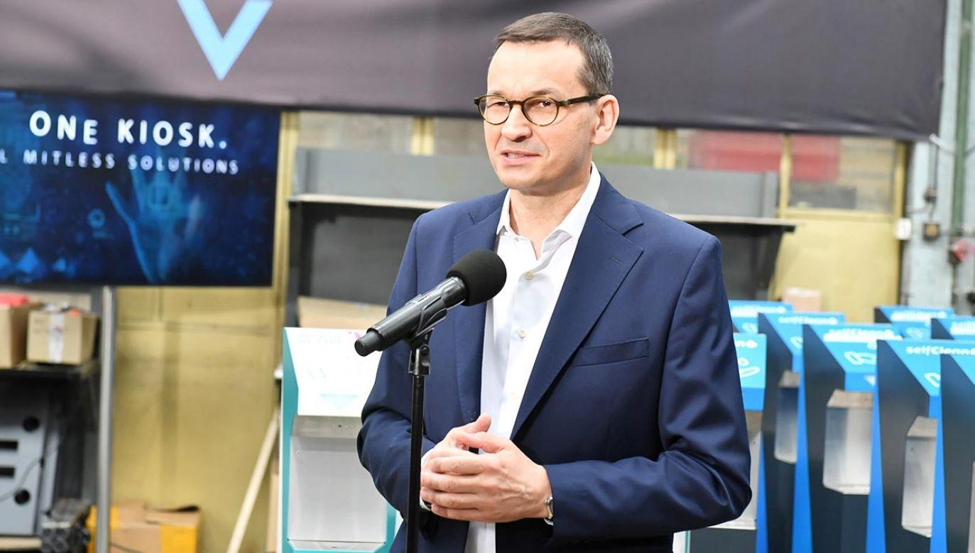 Premier Mateusz Morawiecki odwiedził firmę SeklfMarker (fot. PAP/Grzegorz Michałowski)
