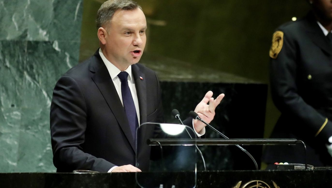 Andrzej Duda wziął udział w debacie z okazji 75. rocznicy powstania ONZ (fot. arch.PAP/ Monika Graff/UPI Photo via Newscom)