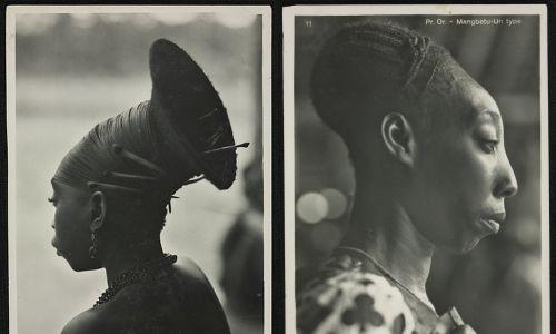 Plemię Mangbetu z Afryki Środkowej wyróżniało się wydłużonymi głowami. Zdjęcia ze stycznia 1938 roku. Fot. Wikimedia/ Kazimierz Zagórski/Polona.pl