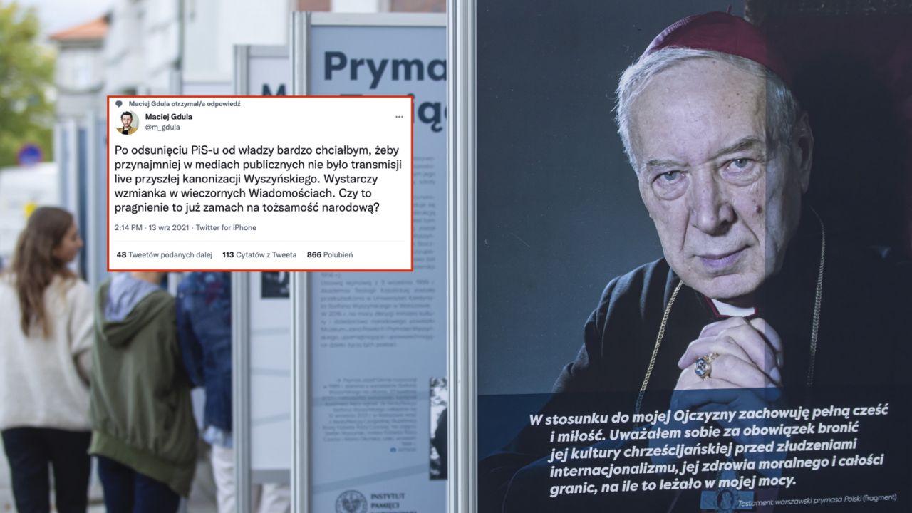 """Wystawa pt. """"Stefan Wyszyński"""" przed siedzibą Instytutu Pamięci Narodowej (fot. PAP/Piotr Wittman)"""