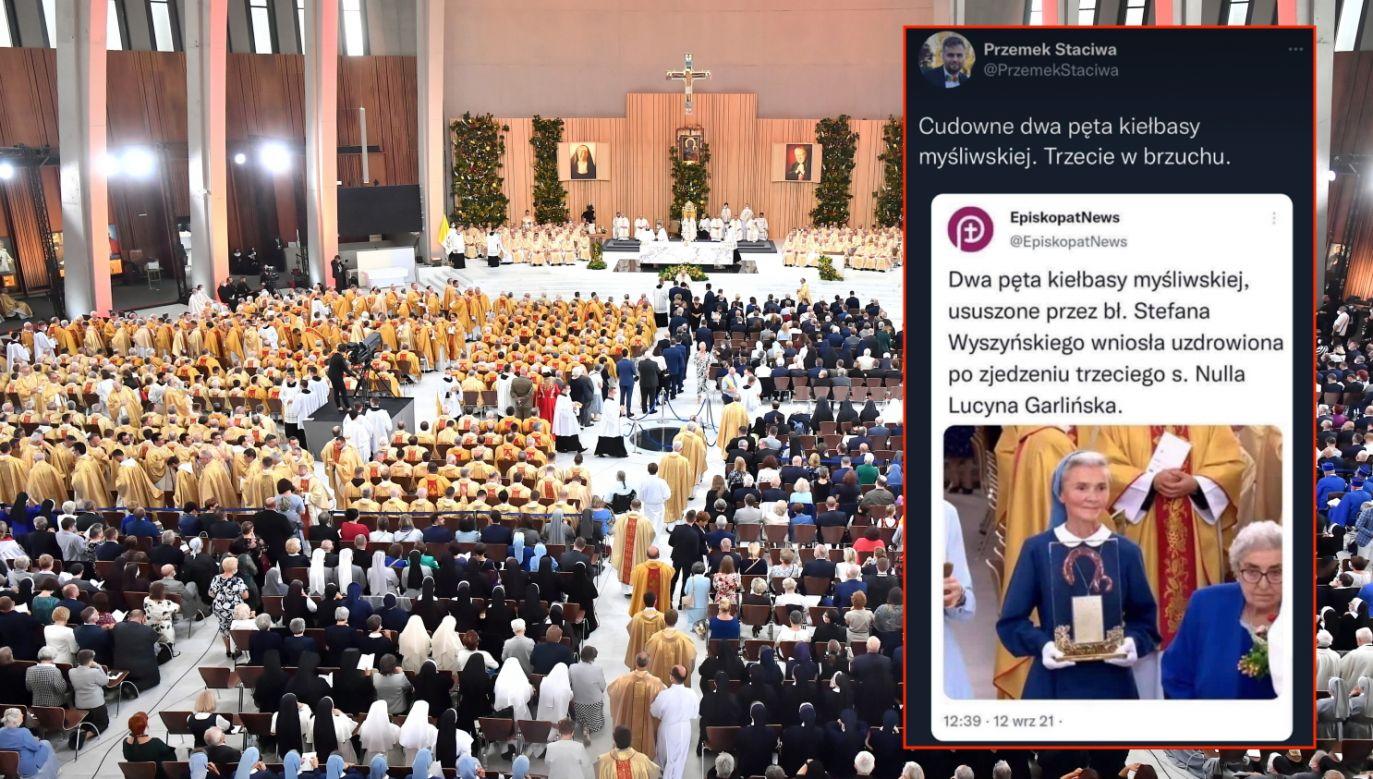 Msza beatyfikacyjna kardynała Stefana Wyszyńskiego oraz matki Elżbiety Róży Czackiej (PAP/Andrzej Lange, twitter.com/PrzemekStaciwa)