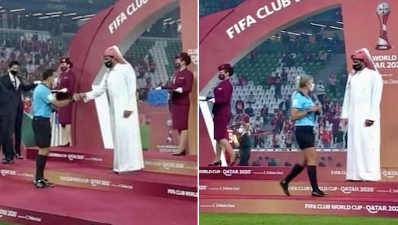 Szejk Joaan zignorował kobiety, gratulował mężczyznom (fot. yt/Club World Cup Final)