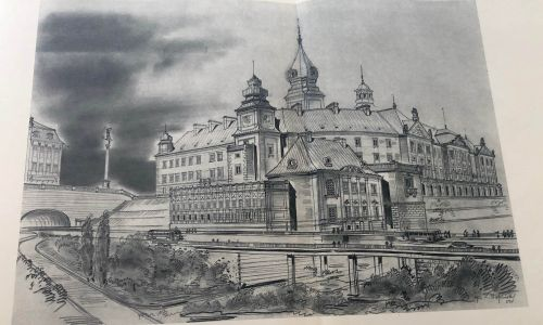 Zamek i Pałac Pod Blachą. Tak miały wyglądać już w 1955 roku. Fot. Mat. wyd