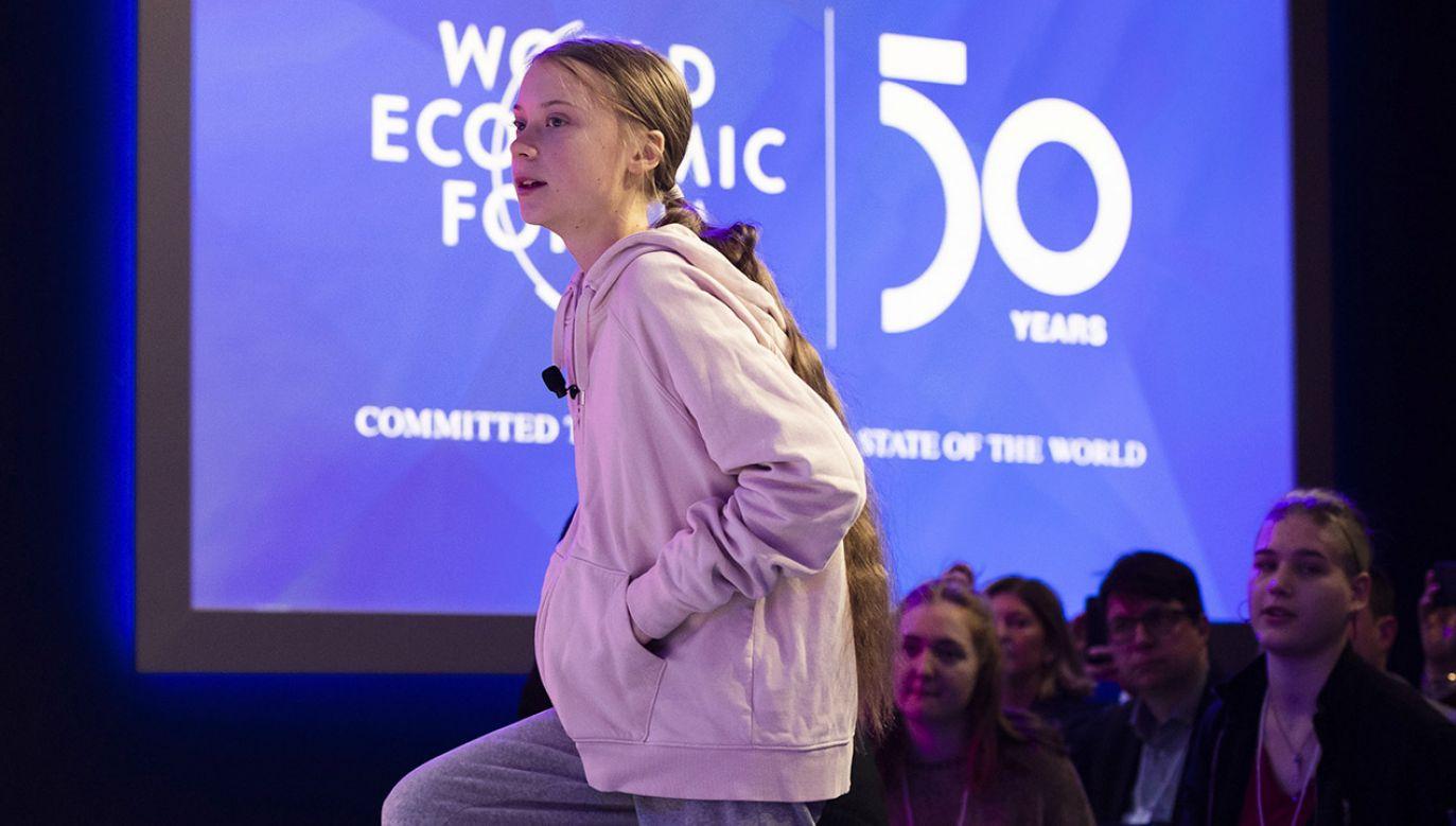 Greta Thunberg tym razem o klimat walczyła w Davos (fot. PAP/EPA/GIAN EHRENZELLER)