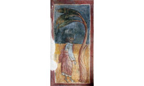 Judasz – wisielec. XVI-wieczny fresk z monasteru św. Eliasza, znanego też jako Tyrżyski, we wsi Strupec w Bułgarii. Fot. Edal Anton Lefterov – praca własna, CC BY-SA 3.0, https://commons.wikimedia.org/w/index.php?curid=26045614