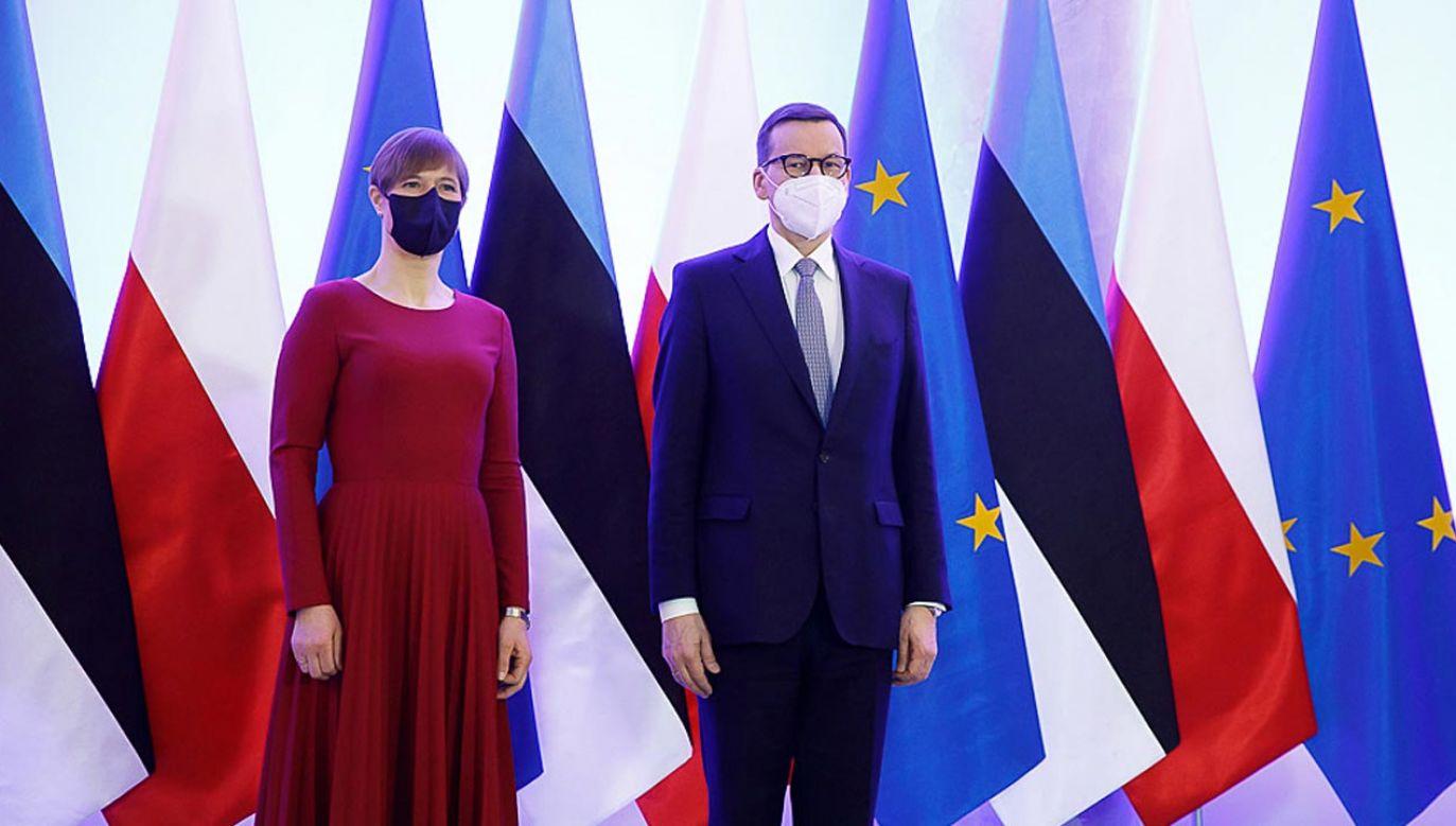 Prezydent Estonii Kersti Kaljulaid i polski premier Mateusz Morawiecki (fot. Krystian Maj/KPRM)